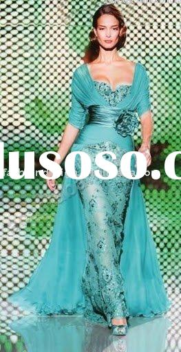RE120 Long sleeves lace embroidery bridesmaid dress prom dress arabic evening dresses