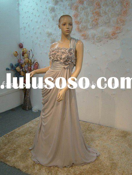 REAL290 Beautiful one shoulder gray chiffon evening dress