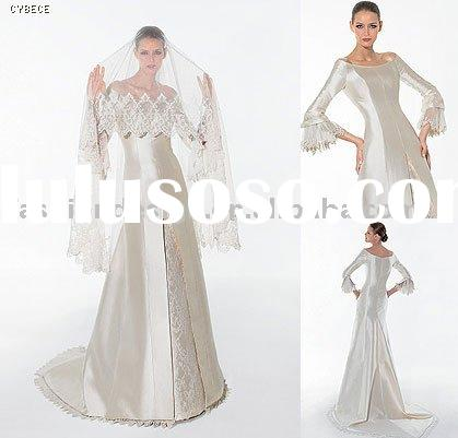 RH035 Gorgeous long sleeves satin bridal gowns wedding dress