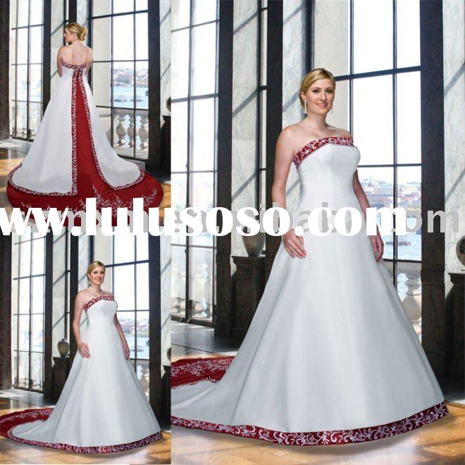 Red and white (MOQ 1 piece)YY-276 fashion embroidery A-line embroidered beading satin wedding dress