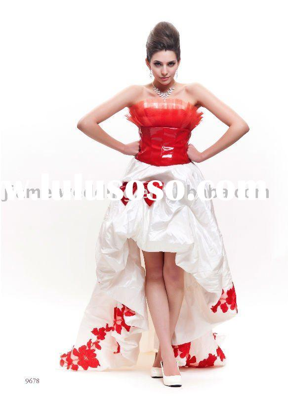 Red and white dress red and white dress manufacturers in for Short red wedding dresses