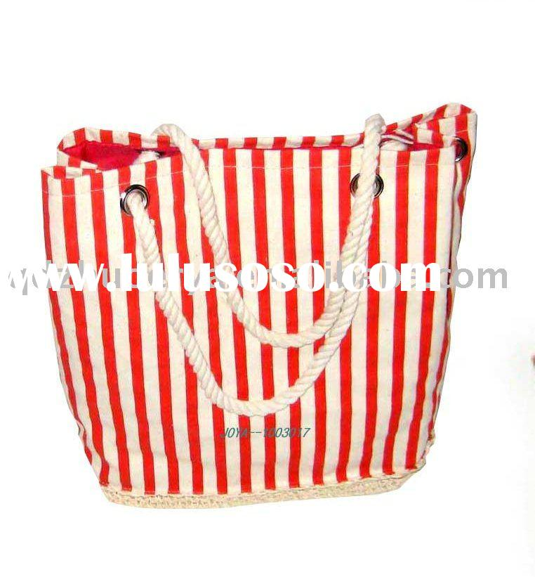 Red and white striped canvas straw beach bag*paper straw crocheting base*cotton cord handle with met