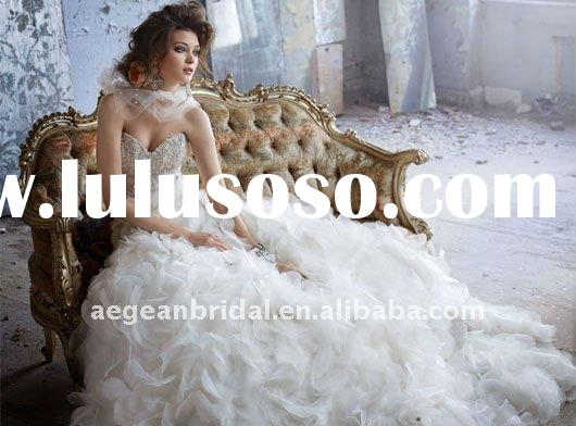 Romantic sweetheart crystal beaded bodice floral organza skirt wedding dress ZS-a0087