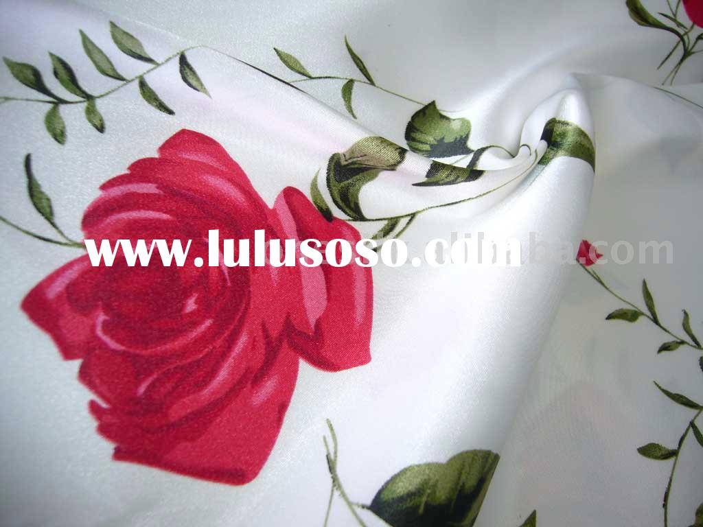 Rose printed stretch polyester satin/rosette satin fabric for dress
