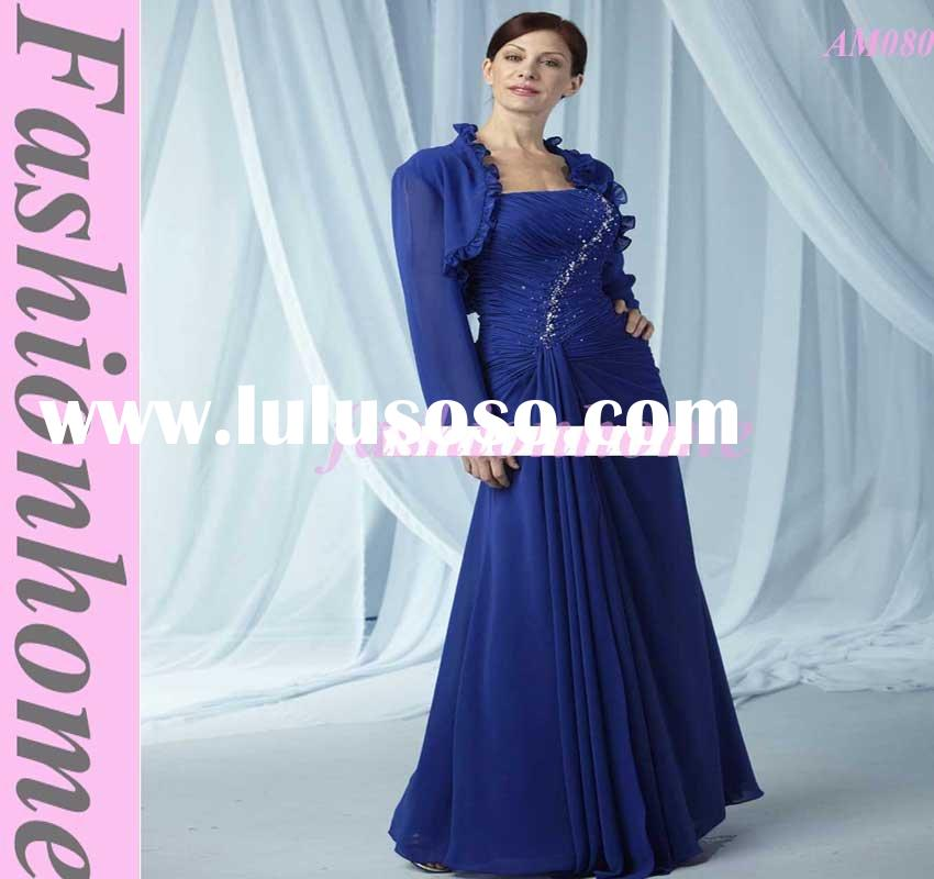 Royal Blue Strapless Chiffon Mother of Bride Dress, Women casual party wear AM080