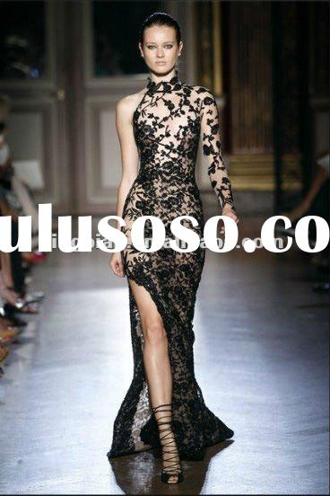 SC1512 Elegant one long sleeve evening dress by zuhair murad designer dress lace long dresses high s