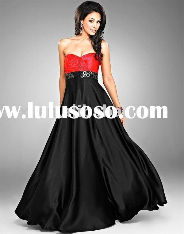 SD-1027 hot sale red and black evening dress