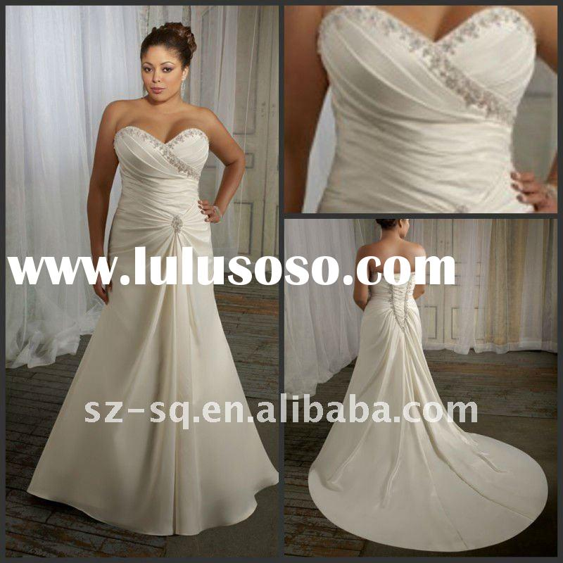 Satin Sweetheart A-Line Exquisite Plus Size Wedding Dresses H0673