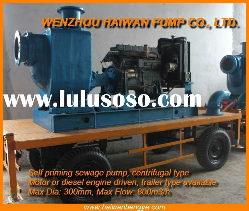 Self Priming Sewage Centrifugal Pump, diesel engine driven, trailer type