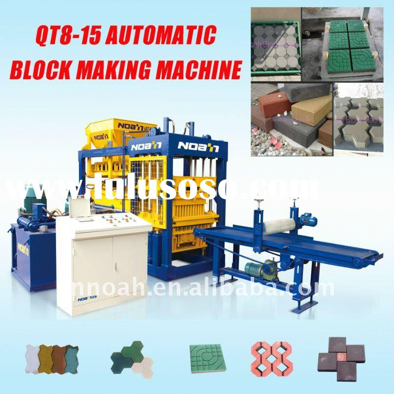 Selling CHINA NOAH QFT8-15 automatic cement concrete pavers and Hollow block brick making machine HO