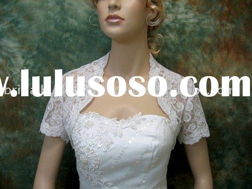 Short Sleeve Lace Wedding Jacket/Bridal Bolero Jacket