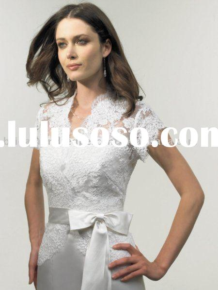 Short Sleeve Lace with Satin Belt Wedding Jacket/Bridal Bolero