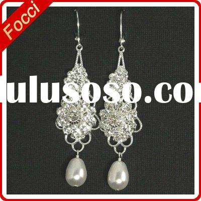 Silver Filligree and Rhinestone, Teardrop Freshwater Pearl jhumka earrings