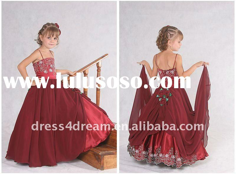 Sleeveless chiffon satin children party dresses with spaghetti strap