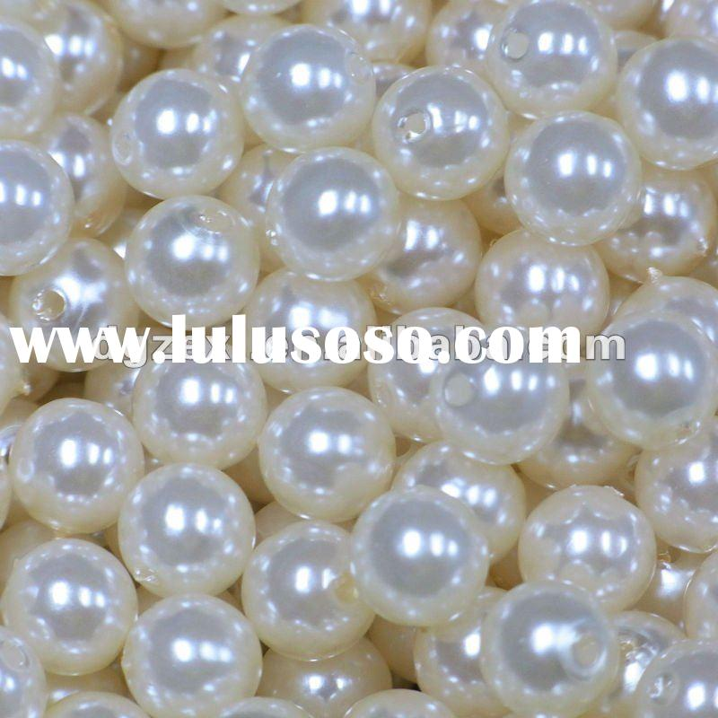 Smooth faux pearl plastic beads for making jewelry