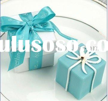 Something Blue Gift Box Candle in Pearlized Box with Satin Printed Ribbon Wedding Favors