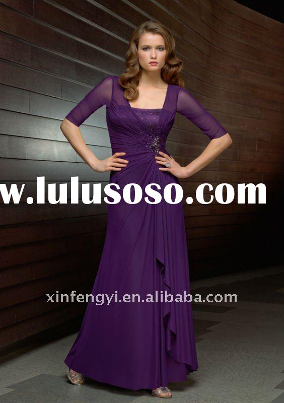 Sparkle purple chiffon A-line beaded waistline formal mother long evening dresses with sleeves 2011