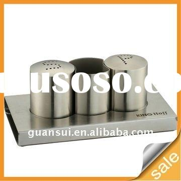 Stainless Steel Salt and Pepper Shaker with Toothpick Holder Set(GS-SP031)