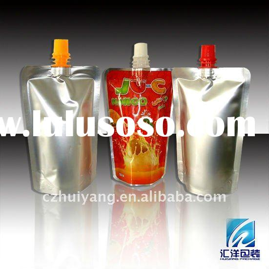 Stand up plastic juice drink spout pouch bag packaging