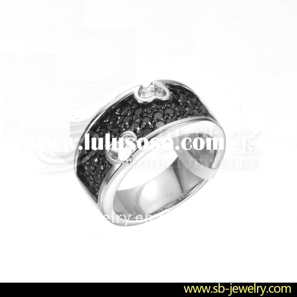 Sterling Silver Rings With Black Cz Stones (OEM & ODM)gift and craft