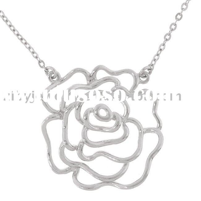 Sterling Silver Rose Outline Necklace
