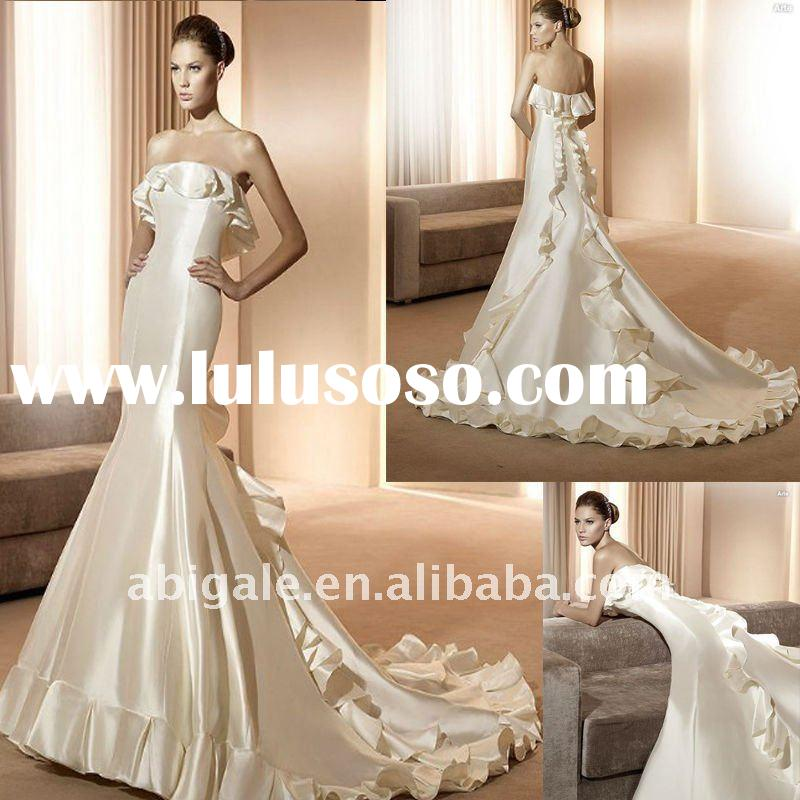 Strapless Mermaid Cathedral train Satin 2011 Wedding Gown(PN10397)