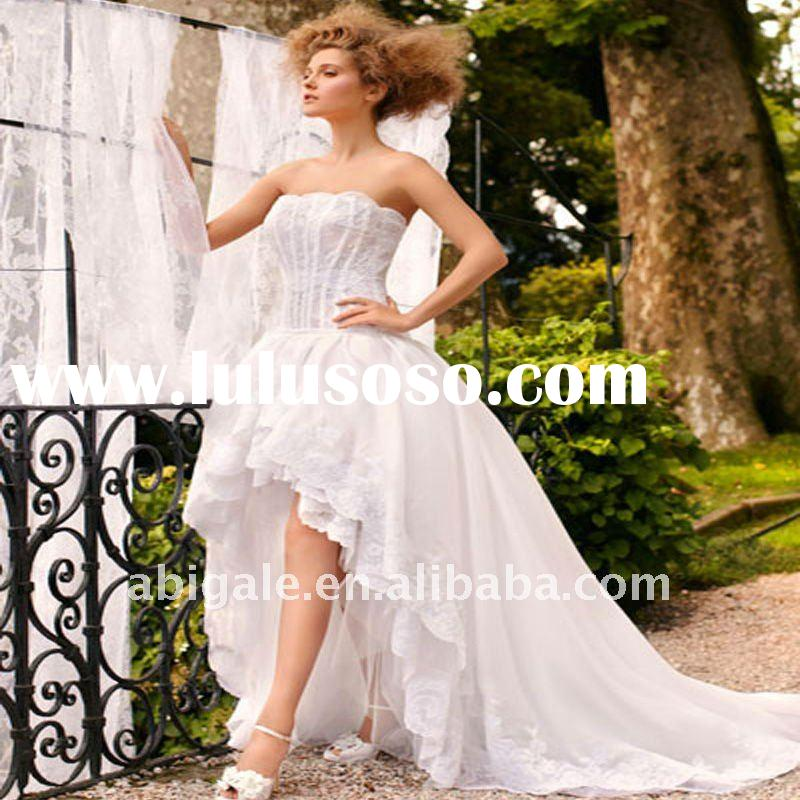 Strapless Ruffled Organza and Lace Front short and long back wedding dress