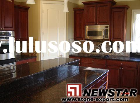 Tan brown granite kitchen countertops with solid cabinet