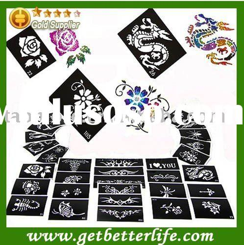 Tattoo stencils for Body art Painting glitter tattoos, 50 sheets, Mixed Designs