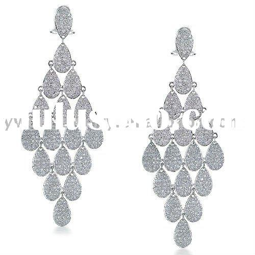 Teardrop Micro Pave CZ Diamond Chandelier Earrings
