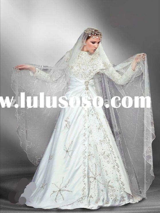 The Classic Long Sleeves Arabic Wedding Dress /Arabic Wedding Gown /Arabic Bridal Gowns/muslim weddi