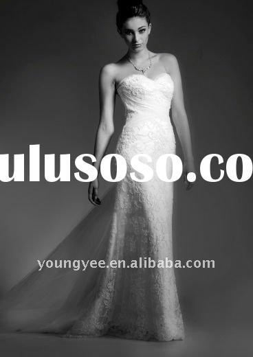 The romantic vintage lace backless wedding dress with tulle train(WD10098)