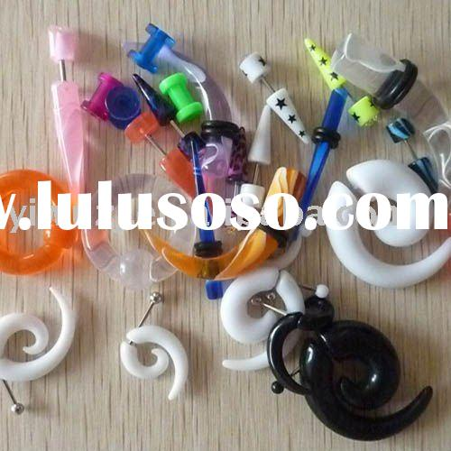Tribal Ear Fake Piercing Spiral ,UV acrylic silicone flesh tunnel body jewelry, ear plugs,ear gauge,