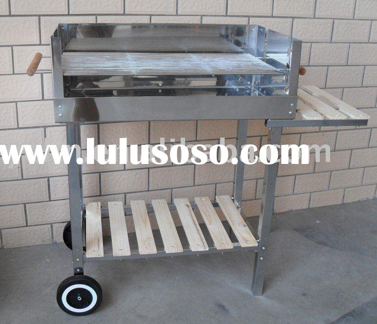 Trolley barbecue grill (Square stainless steel barbecue grill)