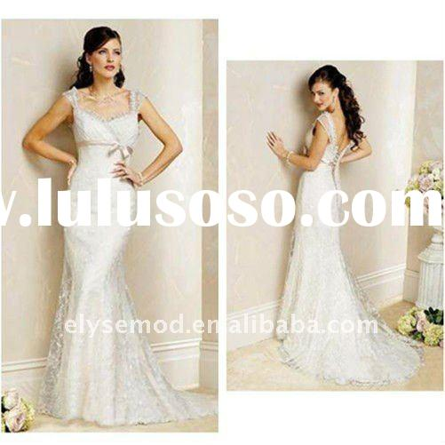 Vintage Satin and lace spaghetti straps Two Layer Lace Up Back Vintage Mermaid Wedding Dresses