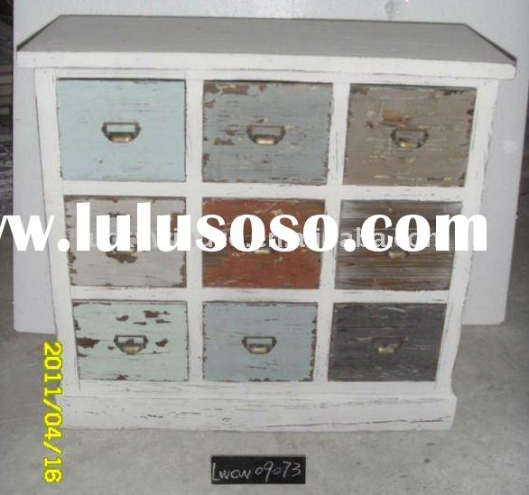 Vintage colorful wood chest w/ 9 drawers