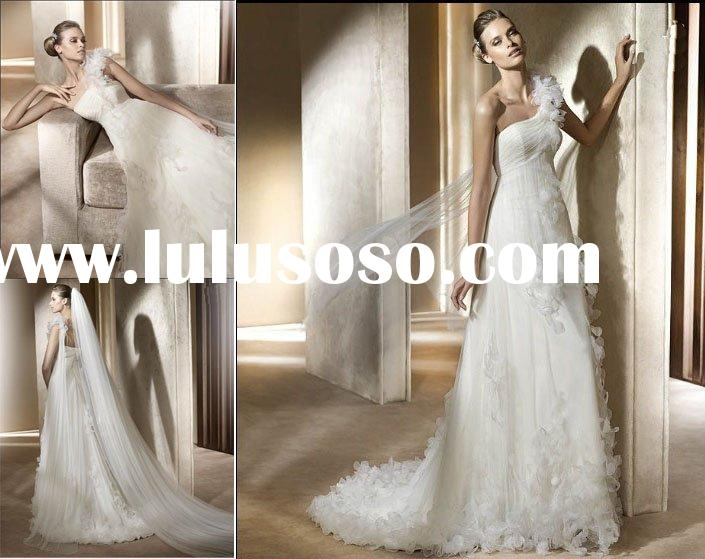 W55 Elegant one-shoulder car-bone-flower beautiful wedding dress