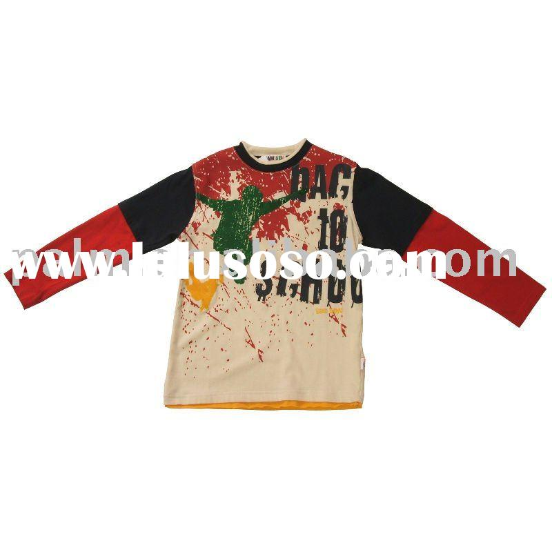 WB10-KG005,long sleeve in different color fabric,Kids T-shirt