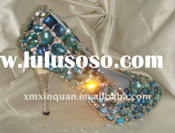 WS212 Glitter Blue diamond bridal shoes