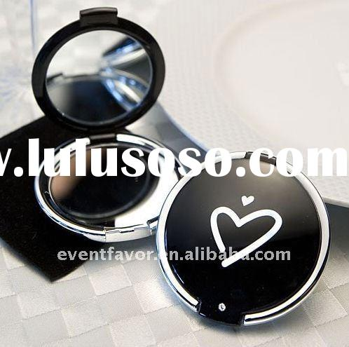 Wedding Gifts Styling Black Heart Design Compact Mirror (Promotional Products)
