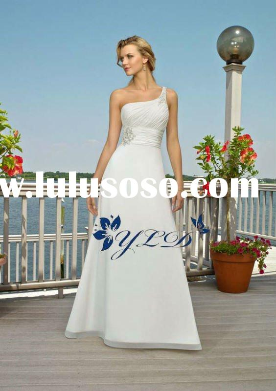 White Chiffon One-shoulder With Sash And Beaded Informal Wedding Dress