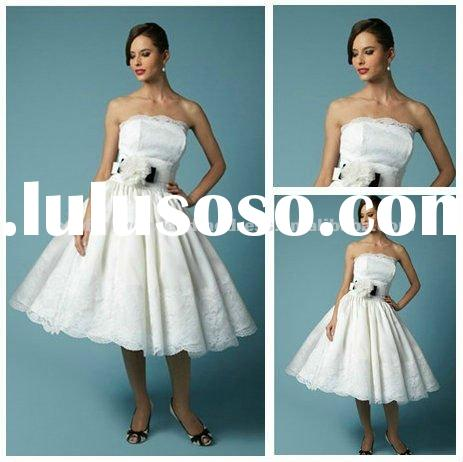 White Satin Knee Length Cheap Wedding Dresses Online