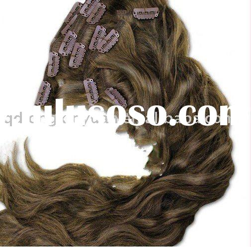 Wholesale Grade AAA wave 100% Indian remy hair clip in hair extension
