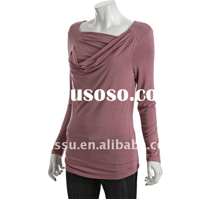 Women Tops and Blouse, Latest Jersey Draped Cowl Neck Design Long Sleeve Tunic