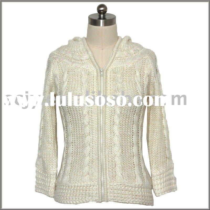 Women's Fully Fashion Long Sleeve Cable Zip Hooded Cardigan Sweater