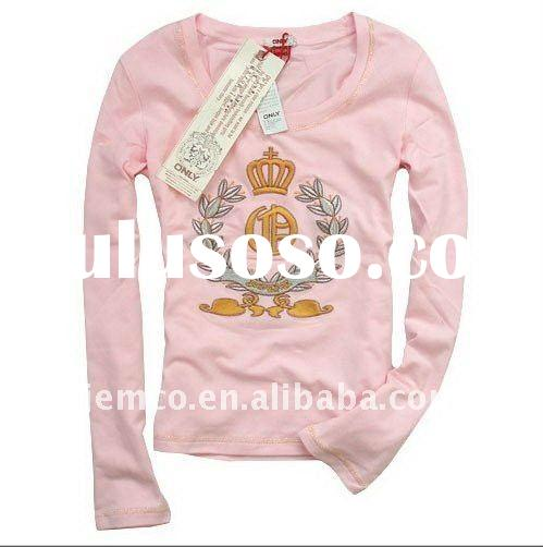 Women's shirt with big embroidery, cotton twill t-shirt for girl, long sleeve t-shirt