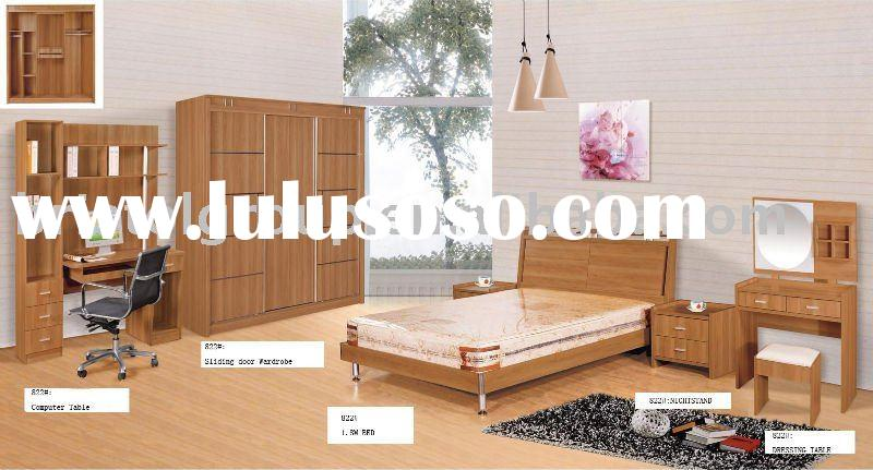 Wooden Panel Melamine Bedroom Furniture Suit With Sliding Doors Wardrobe