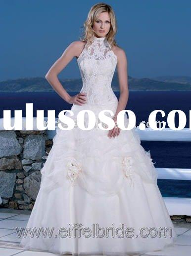 XH-09246 A line lace and organza bridal wedding dresses