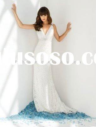 YF375 full length lace bridal gown with hand beaded waistband and straps 2011 wedding dress