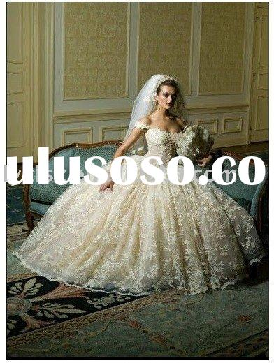 YW112427 Noble light champagne off-shoulder ball gown beading floor-length satin skirt lace wedding